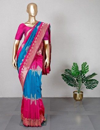 Blue and pink saree for wedding