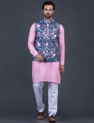 Blue and pink thread work cotton silk waistcoat set
