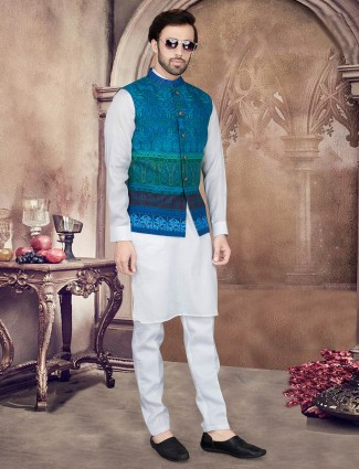 Blue and whiite printed mens waistcoat set for parties