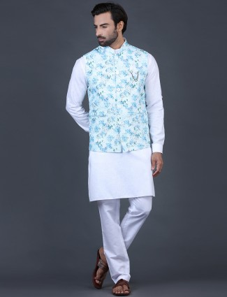Blue and white cotton silk party function waistcoat set