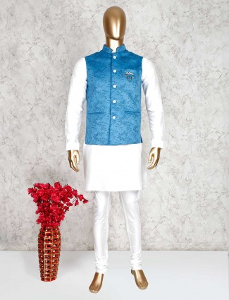 Blue and white printed waistcoat set for party