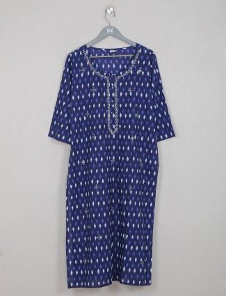 Blue attractive cotton casual wear printed kurti