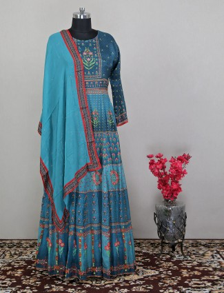 Blue attractive floor-length anarkali suit in printed style