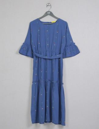 Blue beautiful cotton casual wear kurti