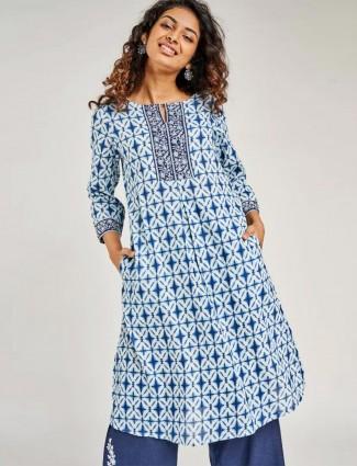 Blue casual festive wear cotton kurti for women