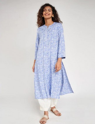 Blue casual wear kurti for women in cotton