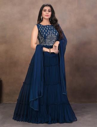 Blue color designer floor length anarkali salwar suit in georgette