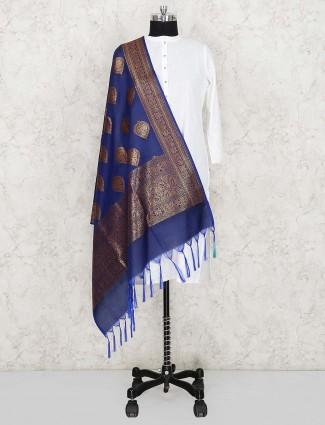 Blue color elegant silk fabric dupatta