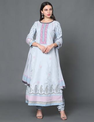 Blue colored festive chanderi silk punjabi salwar suit