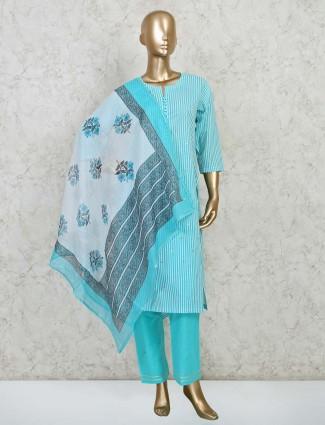 Blue colour cotton festive wear salwar suit