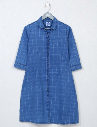 Blue cotton chexs style top for women