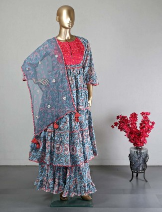 Blue cotton designer sharara salwar kameez