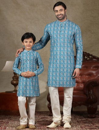 Blue cotton fabric kurta suit for father and son