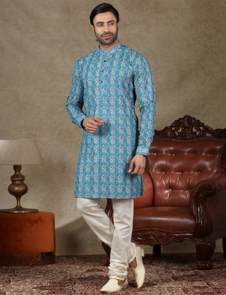 Blue cotton fabric mens kurta suit for festive