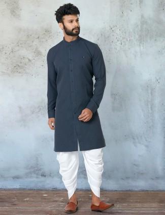 Blue cotton festive wear kurta with dhoti