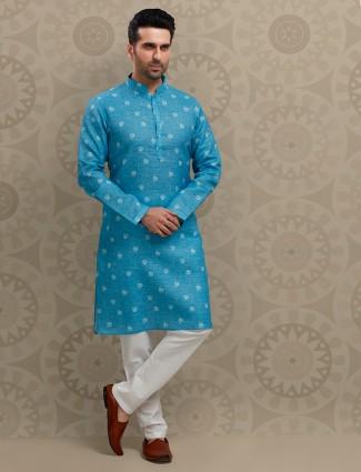Blue cotton festive wear printed kurta suit