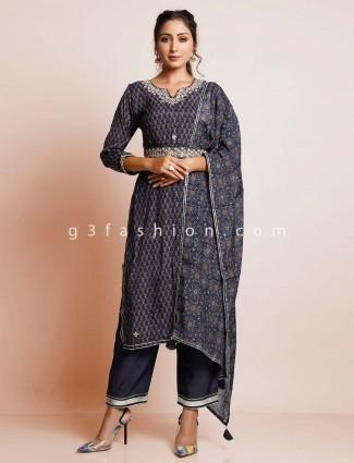 Blue cotton festive wear salwar kameez