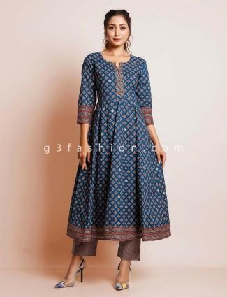 Blue cotton printed suit for women