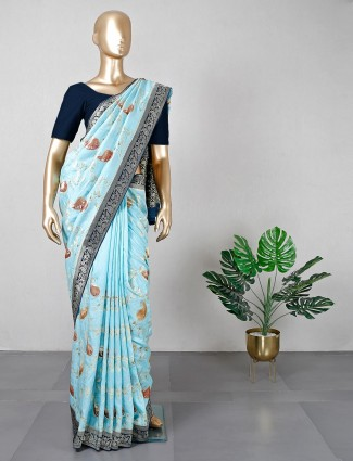 Blue cotton silk festive special saree