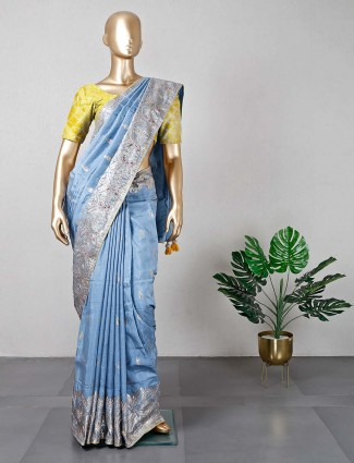 Blue cotton silk party wear sari