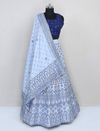 Blue cotton silk wedding lehenga choli