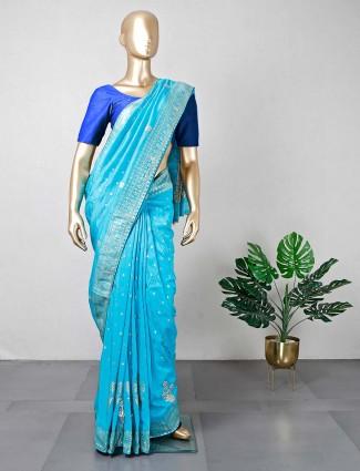 Blue cotton silk wedding wear saree