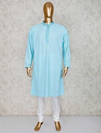 Blue cotton stand neck kurta suit