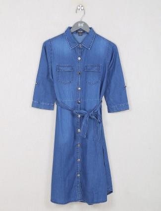 Blue denim casual shirt style top