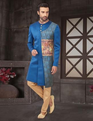 Blue designer indo western for wedding in cotton silk