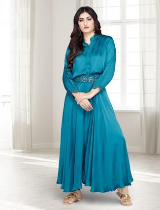 Blue designer satin party wear salwar suit