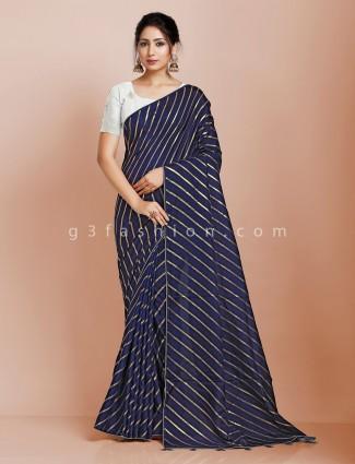 Blue dola silk leheriya saree for festive wear