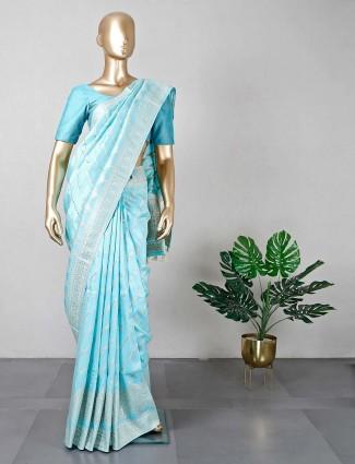 Blue dola silk womens saree