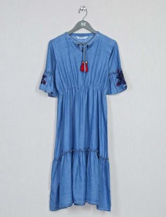 Blue festive wear cotton casual kurti