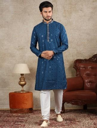 Blue full sleeves kurta suit for festive