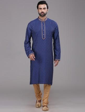 Royal blue silk printed kurta suit for festive