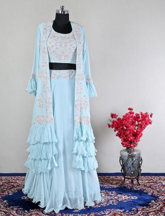 Sky blue georgette lehenga style suit for wedding