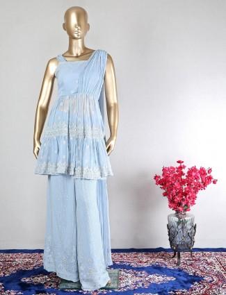 Blue georgette palazzo suit for wedding ceremonies