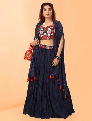 Blue georgtte designer lehenga choli for wedding