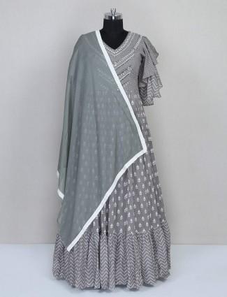 Grey georgtte anarkali style designer salwar suit