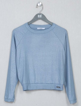 Blue latest casual wear crepe top