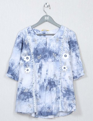 Blue latest poly cotton casual top