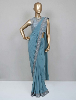 Blue lycra net ready to wear saree for party