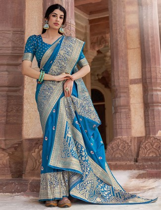 Blue magnificents silk wedding function saree for women
