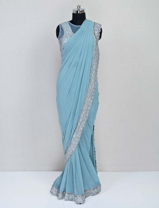 Blue party wear saree for women