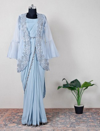 Blue party wear saree for women in raw silk