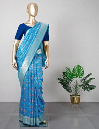 Blue patola silk saree for wedding session