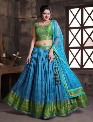 Blue patola silk wedding event lehenga choli for gorgeous women