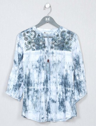 Blue poly cotton casual top