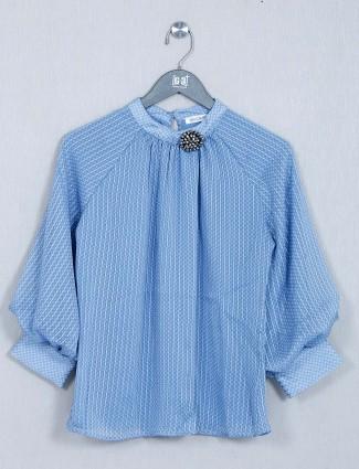Blue poly cotton western wear top