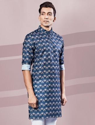 Blue printed cotton mens kurta